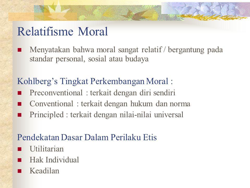 Relatifisme Moral Kohlberg's Tingkat Perkembangan Moral :