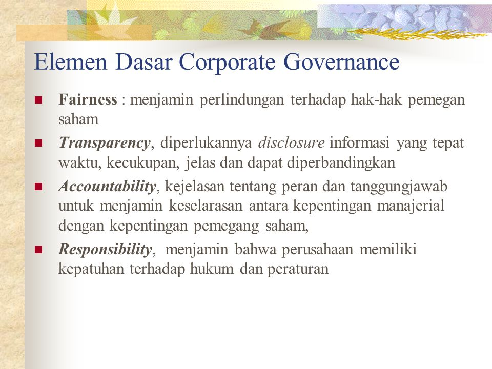 Elemen Dasar Corporate Governance