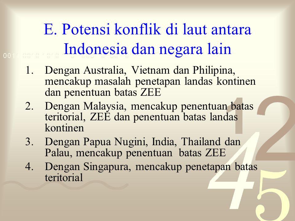 E. Potensi konflik di laut antara Indonesia dan negara lain