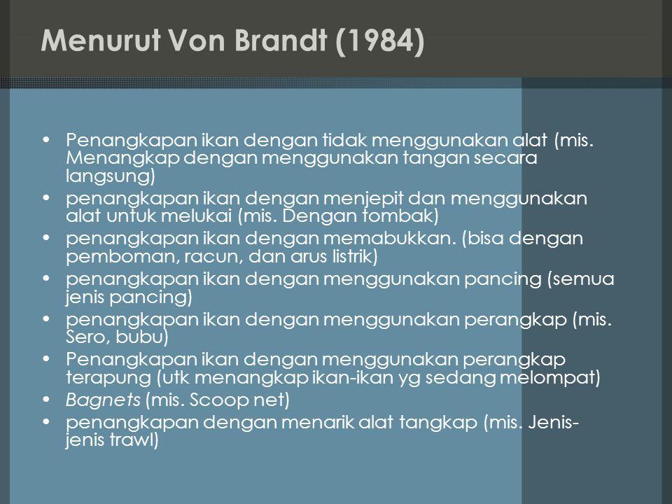 Menurut Von Brandt (1984) Penangkapan ikan dengan tidak menggunakan alat (mis. Menangkap dengan menggunakan tangan secara langsung)
