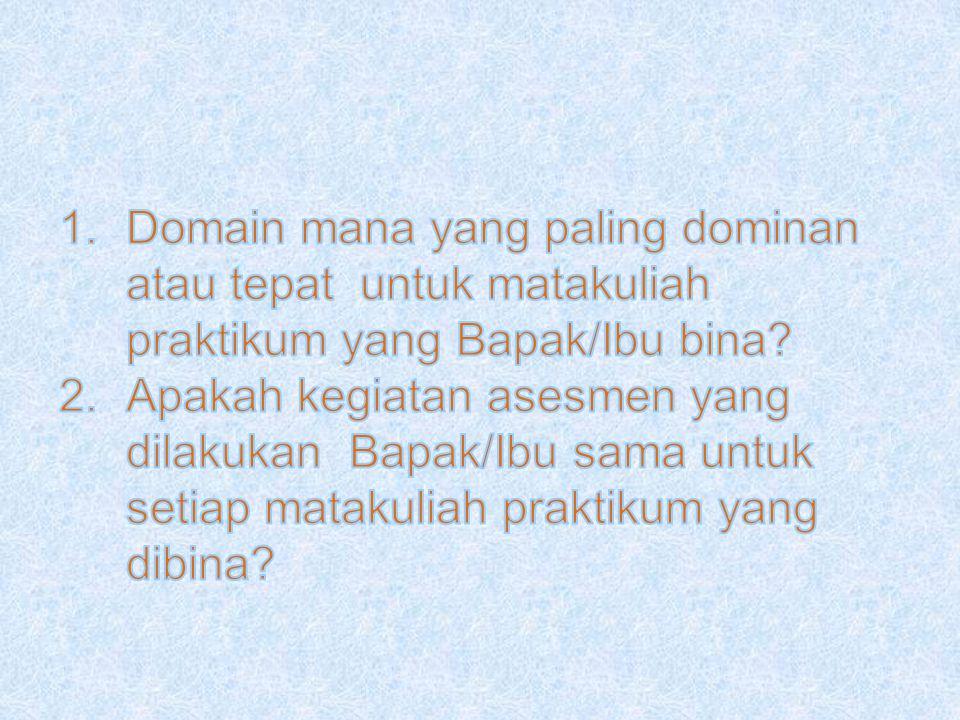 Domain mana yang paling dominan atau tepat untuk matakuliah praktikum yang Bapak/Ibu bina
