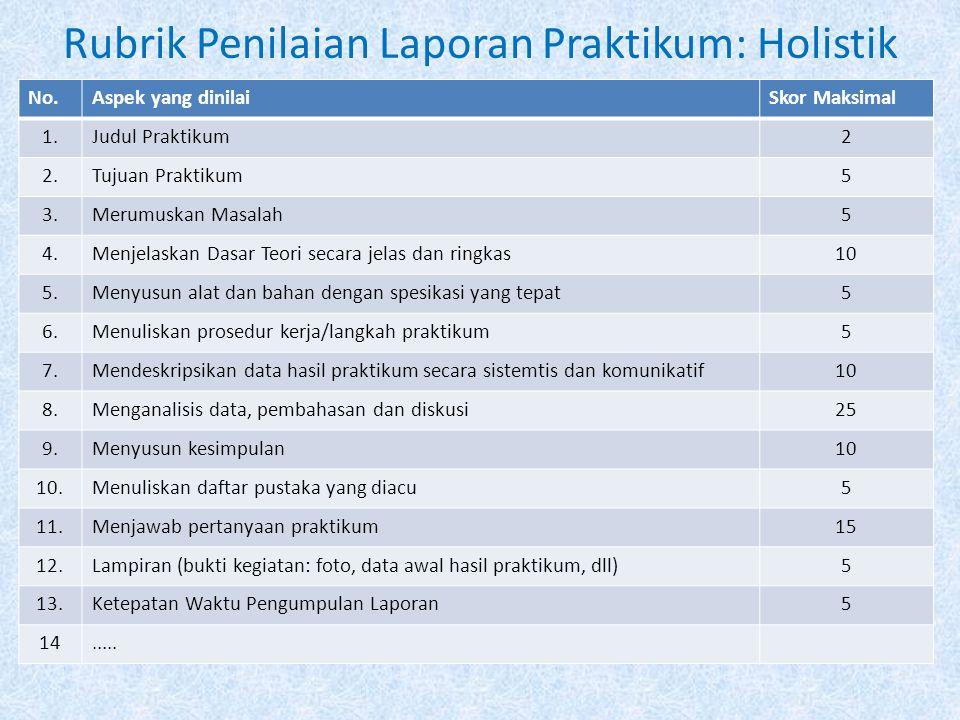 Rubrik Penilaian Laporan Praktikum: Holistik