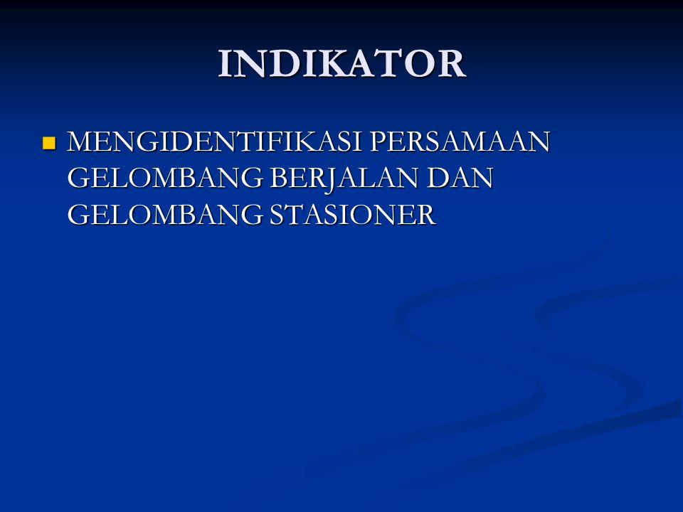INDIKATOR MENGIDENTIFIKASI PERSAMAAN GELOMBANG BERJALAN DAN GELOMBANG STASIONER