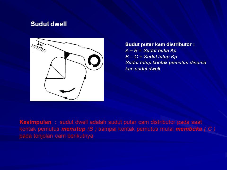 Sudut dwell Sudut putar kam distributor : A – B = Sudut buka Kp. B – C = Sudut tutup Kp. Sudut tutup kontak pemutus dinama.