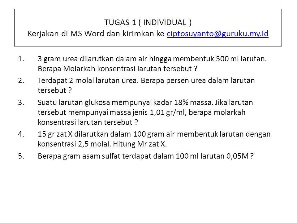 TUGAS 1 ( INDIVIDUAL ) Kerjakan di MS Word dan kirimkan ke ciptosuyanto@guruku.my.id