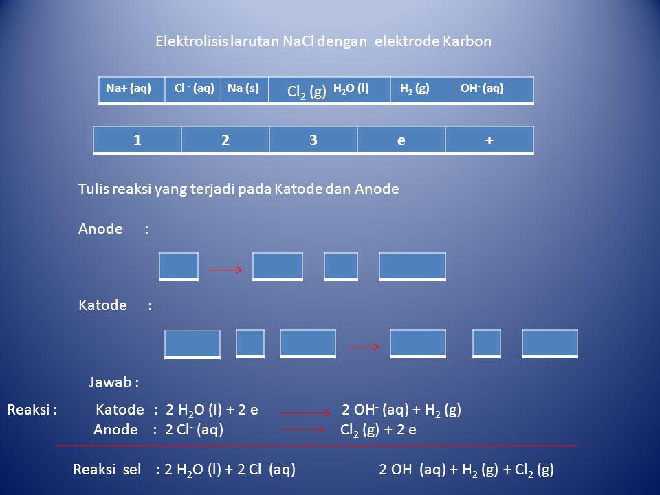 Elektrolisis larutan NaCl dengan elektrode Karbon