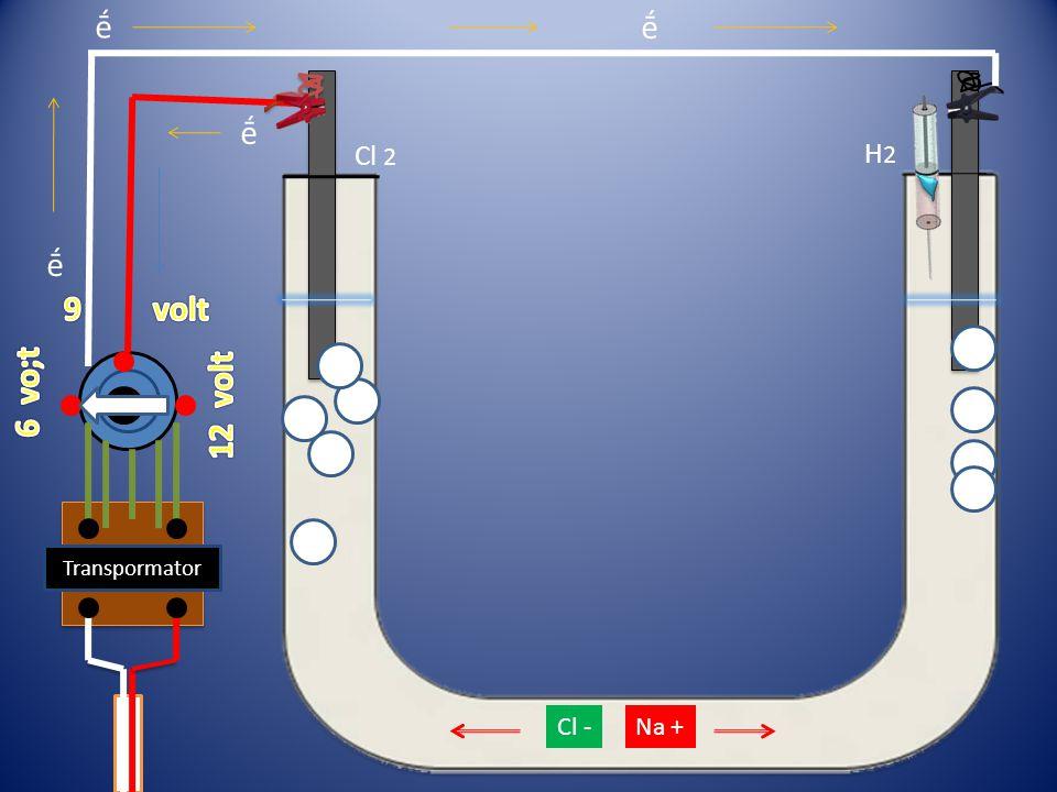 ḗ ḗ ḗ Cl 2 H2 ḗ 9 volt 6 vo;t 12 volt Transpormator Cl - Na +