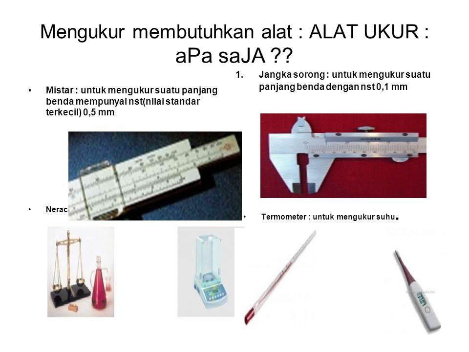Mengukur membutuhkan alat : ALAT UKUR : aPa saJA