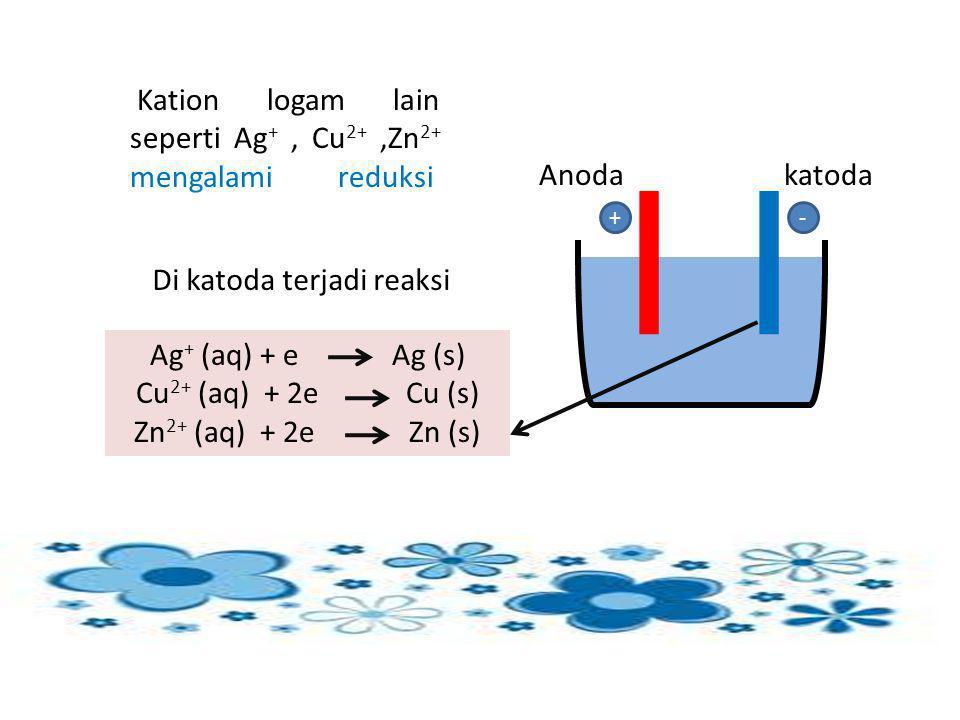 Kation logam lain seperti Ag+ , Cu2+ ,Zn2+ mengalami reduksi