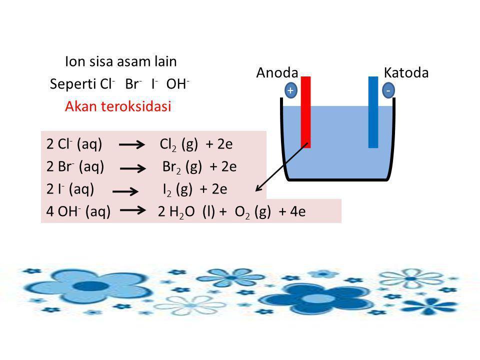 Ion sisa asam lain Anoda Katoda Seperti Cl- Br- I- OH-