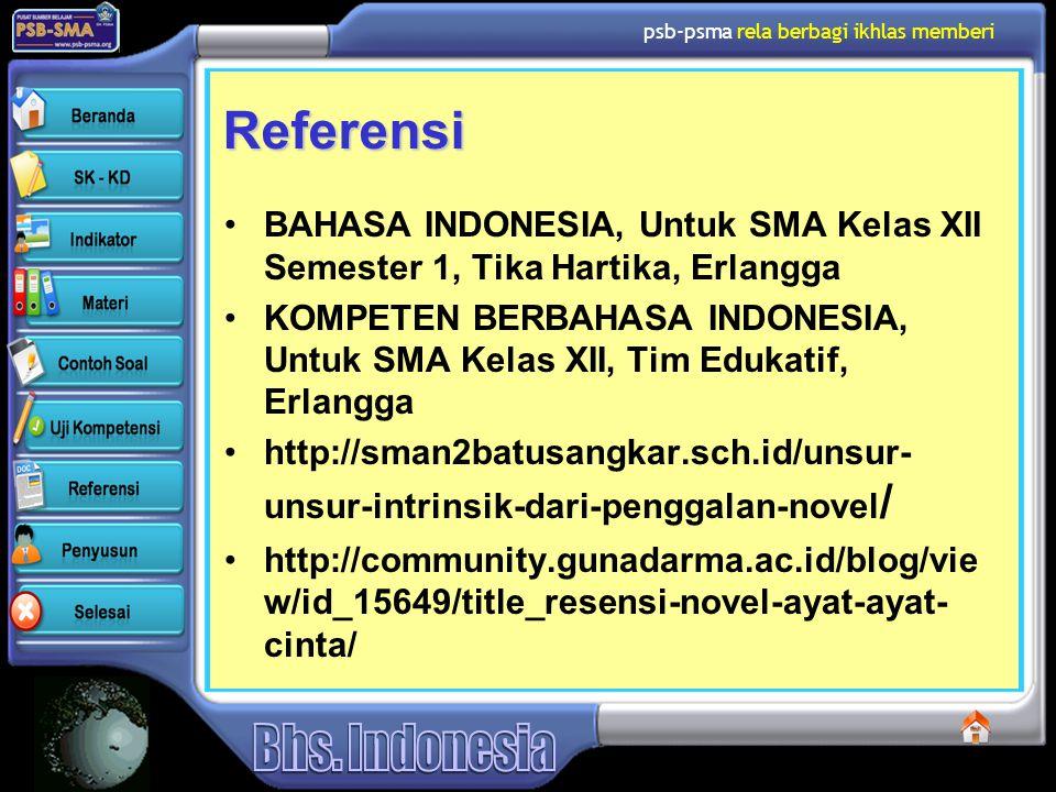 Referensi BAHASA INDONESIA, Untuk SMA Kelas XII Semester 1, Tika Hartika, Erlangga.