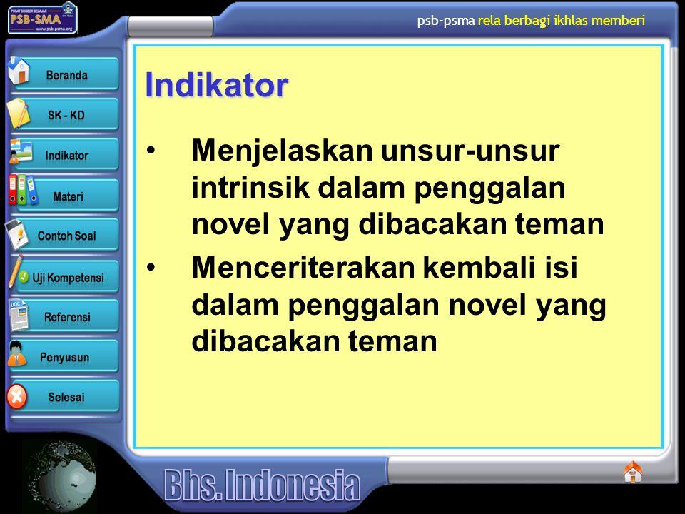 Indikator Menjelaskan unsur-unsur intrinsik dalam penggalan novel yang dibacakan teman.