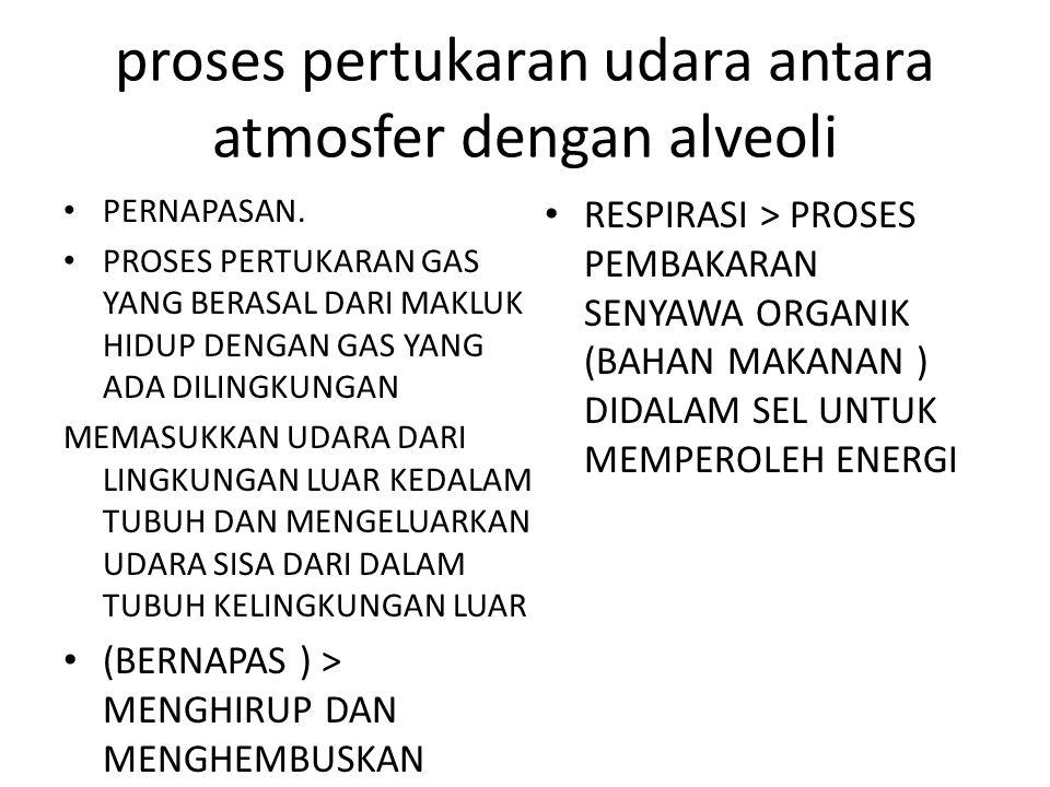 proses pertukaran udara antara atmosfer dengan alveoli