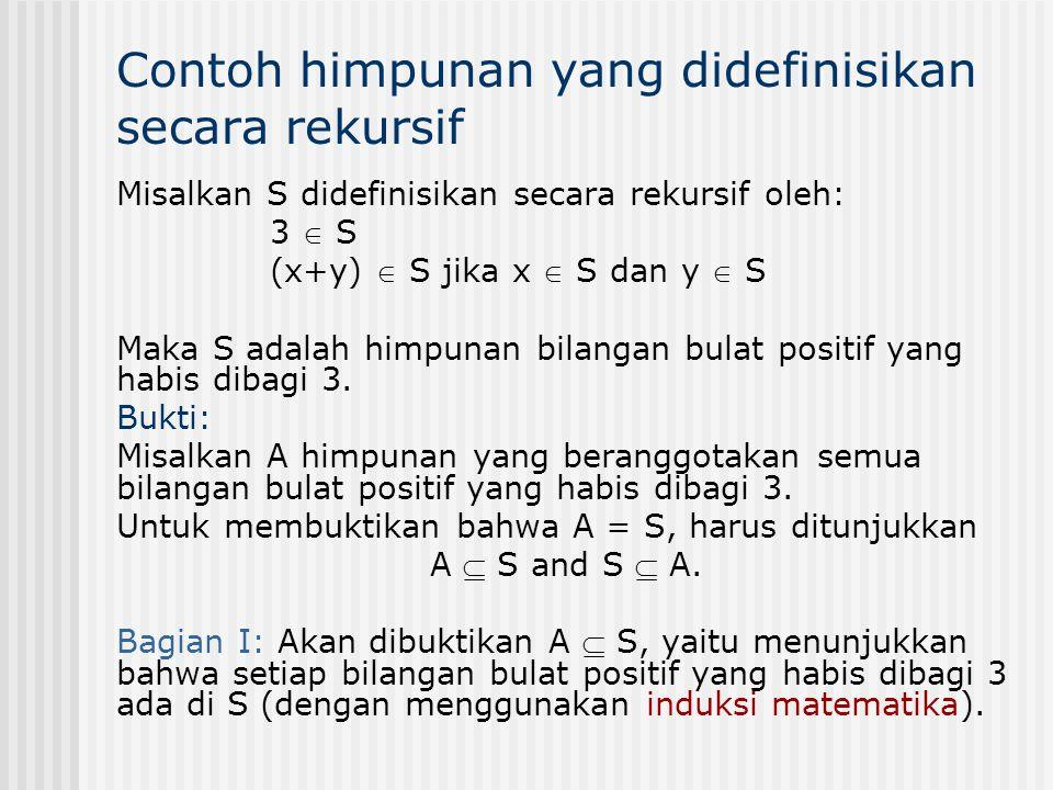 Contoh himpunan yang didefinisikan secara rekursif