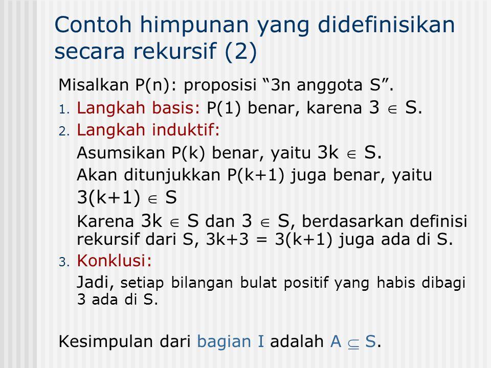 Contoh himpunan yang didefinisikan secara rekursif (2)