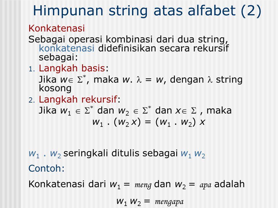 Himpunan string atas alfabet (2)