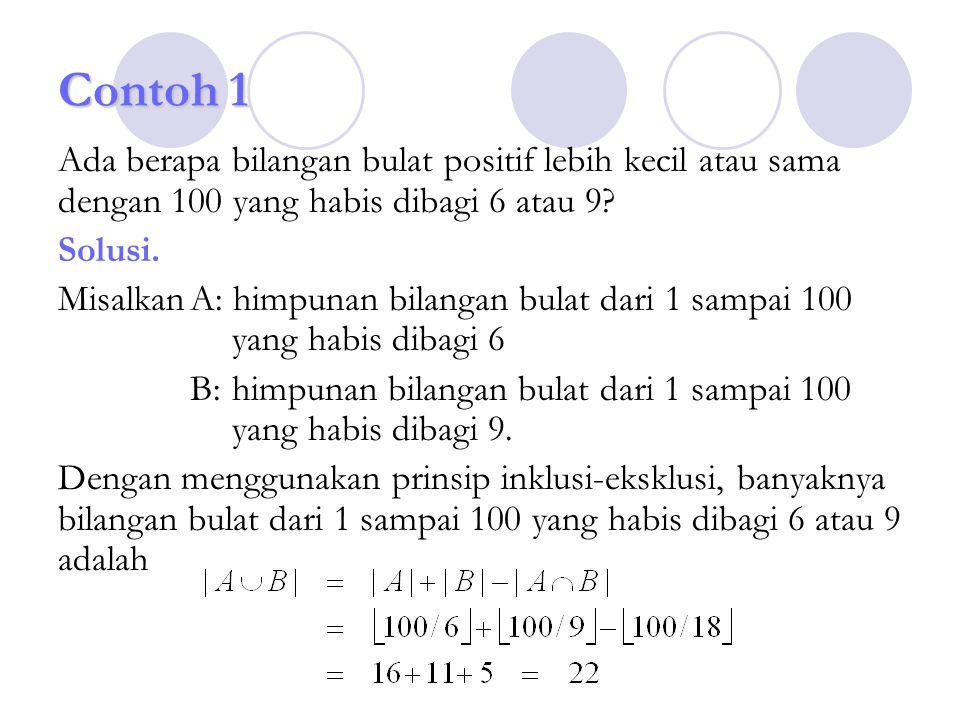 Contoh 1 Ada berapa bilangan bulat positif lebih kecil atau sama dengan 100 yang habis dibagi 6 atau 9