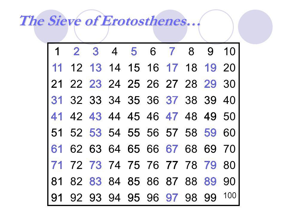 The Sieve of Erotosthenes…