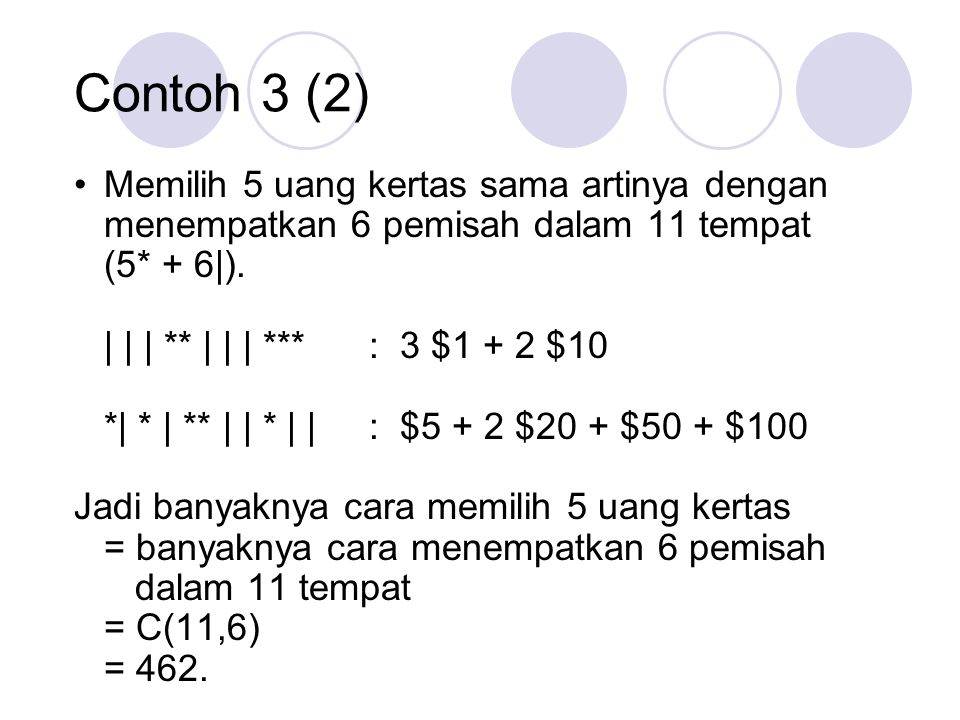 Contoh 3 (2) Memilih 5 uang kertas sama artinya dengan menempatkan 6 pemisah dalam 11 tempat. (5* + 6|).