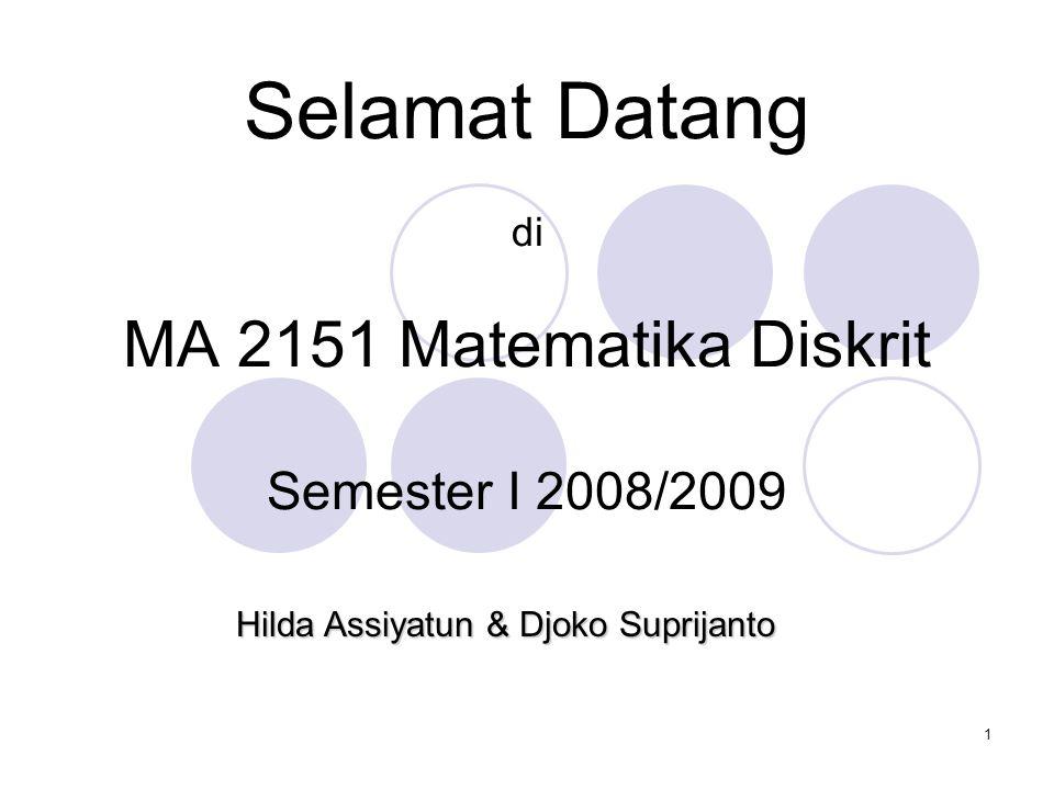 Selamat Datang di MA 2151 Matematika Diskrit Semester I 2008/2009