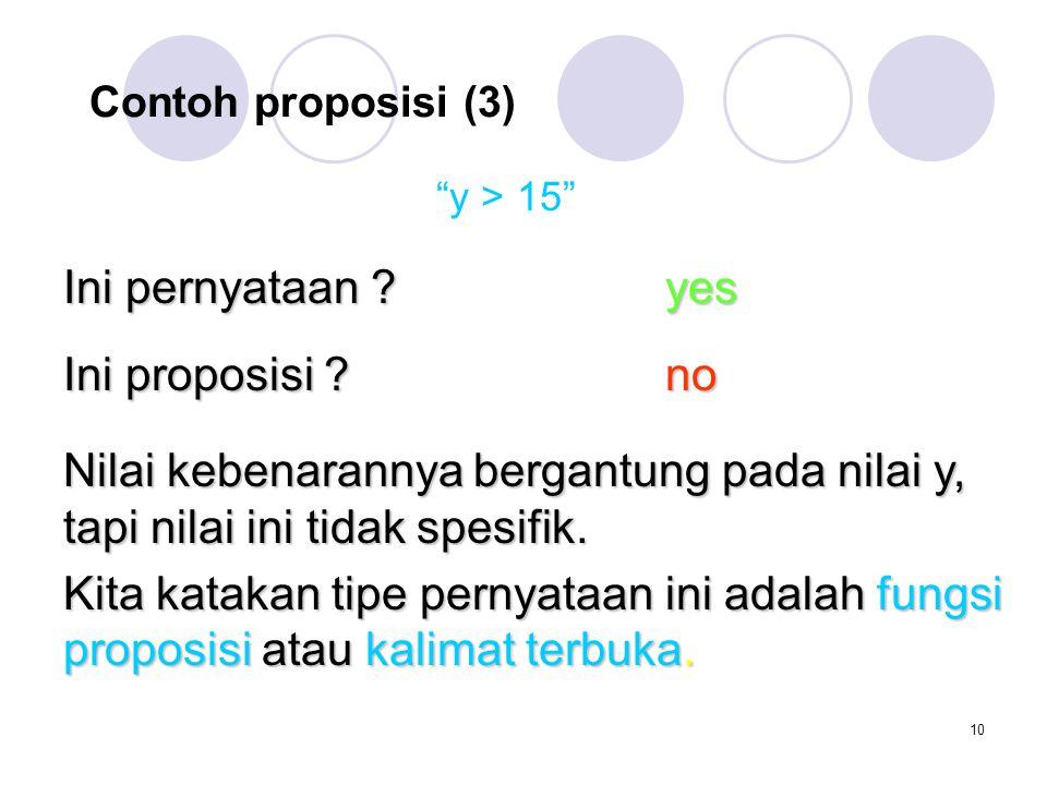 Ini pernyataan yes Ini proposisi no