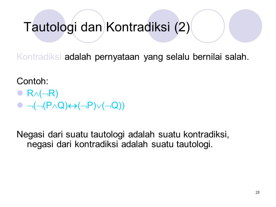 Tautologi dan Kontradiksi (2)