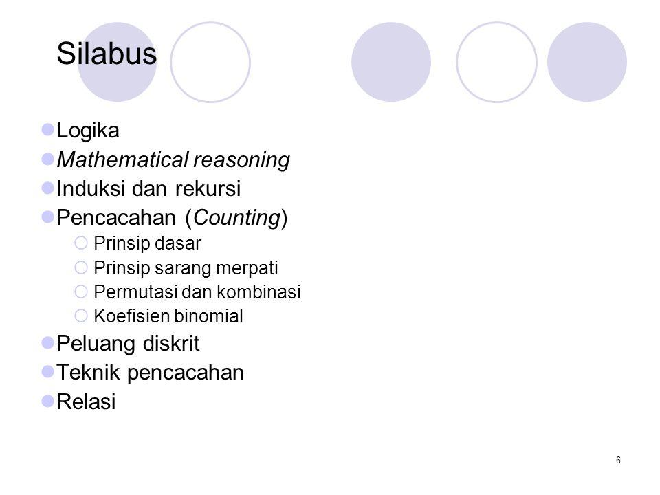 Silabus Logika Mathematical reasoning Induksi dan rekursi