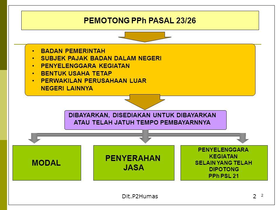 PEMOTONG PPh PASAL 23/26 MODAL PENYERAHAN JASA