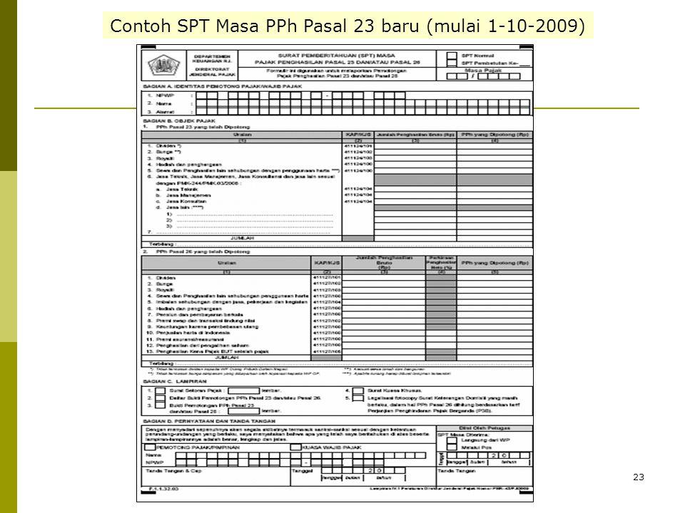 Contoh SPT Masa PPh Pasal 23 baru (mulai 1-10-2009)