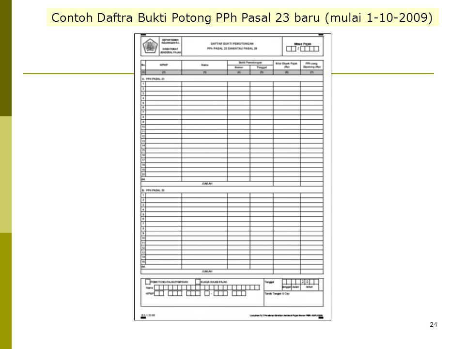 Contoh Daftra Bukti Potong PPh Pasal 23 baru (mulai 1-10-2009)