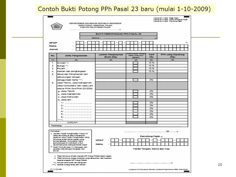Contoh Bukti Potong PPh Pasal 23 baru (mulai 1-10-2009)