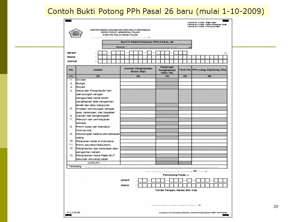 Contoh Bukti Potong PPh Pasal 26 baru (mulai 1-10-2009)