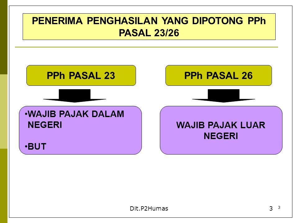 PENERIMA PENGHASILAN YANG DIPOTONG PPh PASAL 23/26
