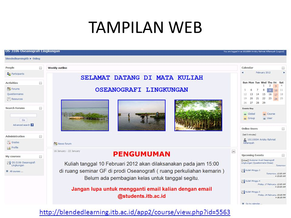 TAMPILAN WEB http://blendedlearning.itb.ac.id/app2/course/view.php id=5563