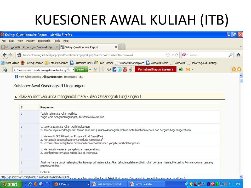 KUESIONER AWAL KULIAH (ITB)