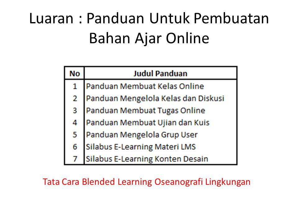 Luaran : Panduan Untuk Pembuatan Bahan Ajar Online