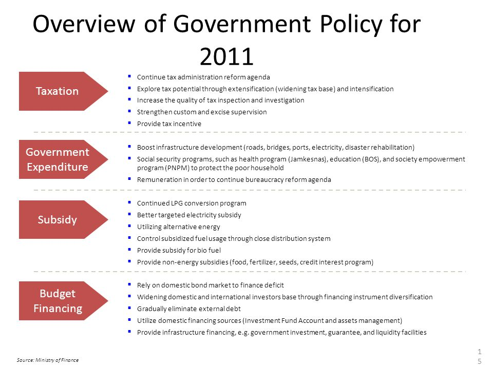 Overview of Government Policy for 2011