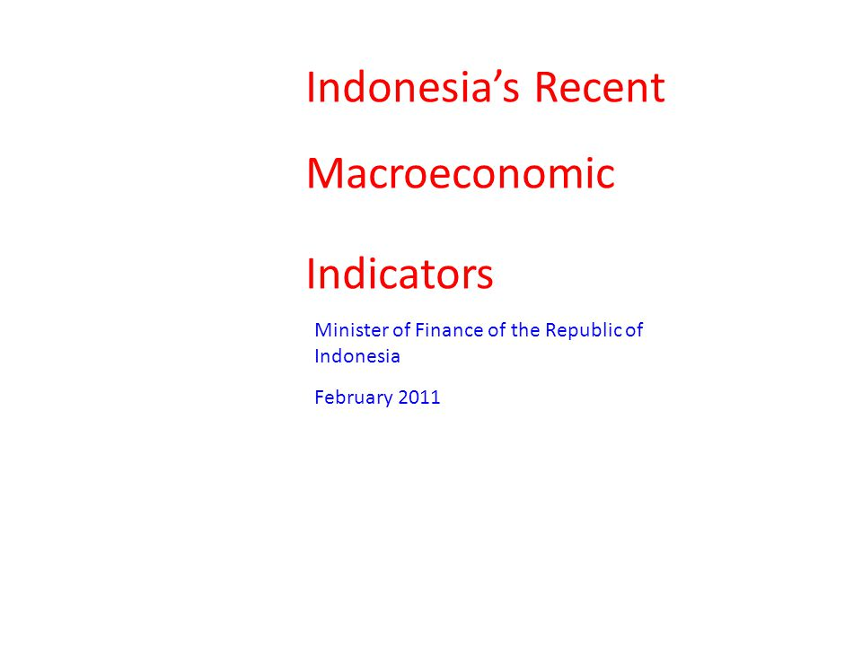 Indonesia's Recent Macroeconomic