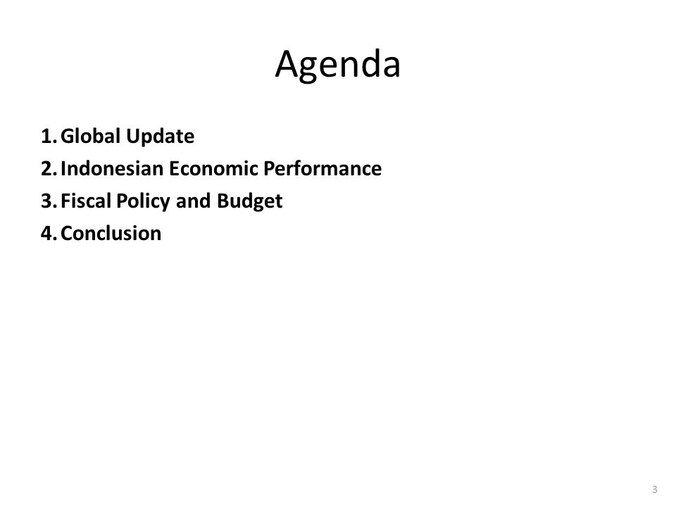 Agenda Global Update Indonesian Economic Performance