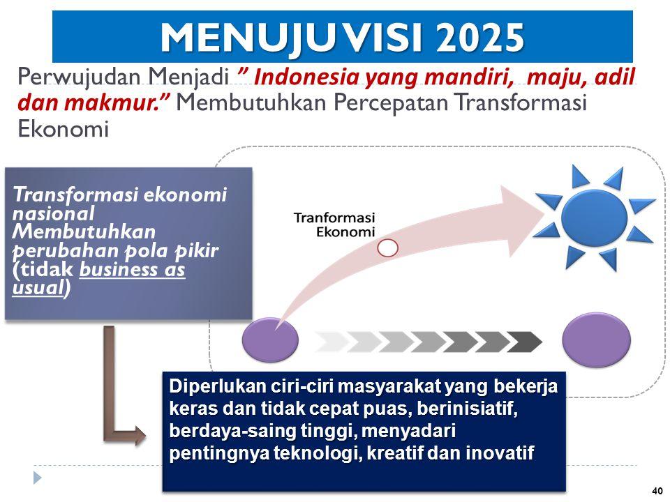 MENUJU VISI 2025 Perwujudan Menjadi Indonesia yang mandiri, maju, adil dan makmur. Membutuhkan Percepatan Transformasi Ekonomi.