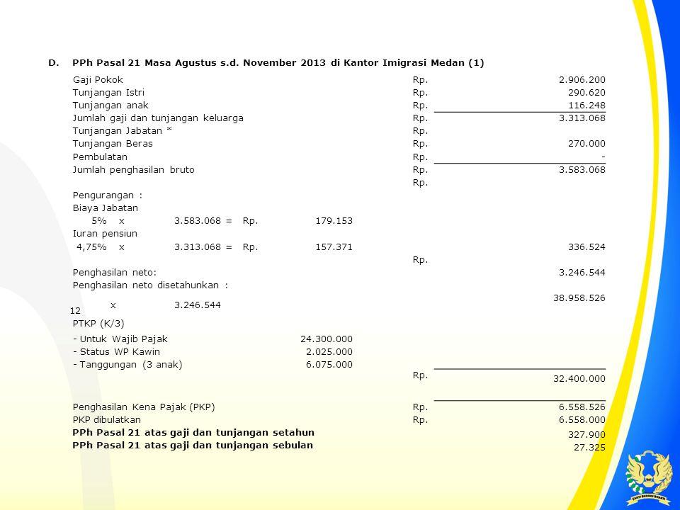 D. PPh Pasal 21 Masa Agustus s.d. November 2013 di Kantor Imigrasi Medan (1) Gaji Pokok. Rp. 2.906.200.