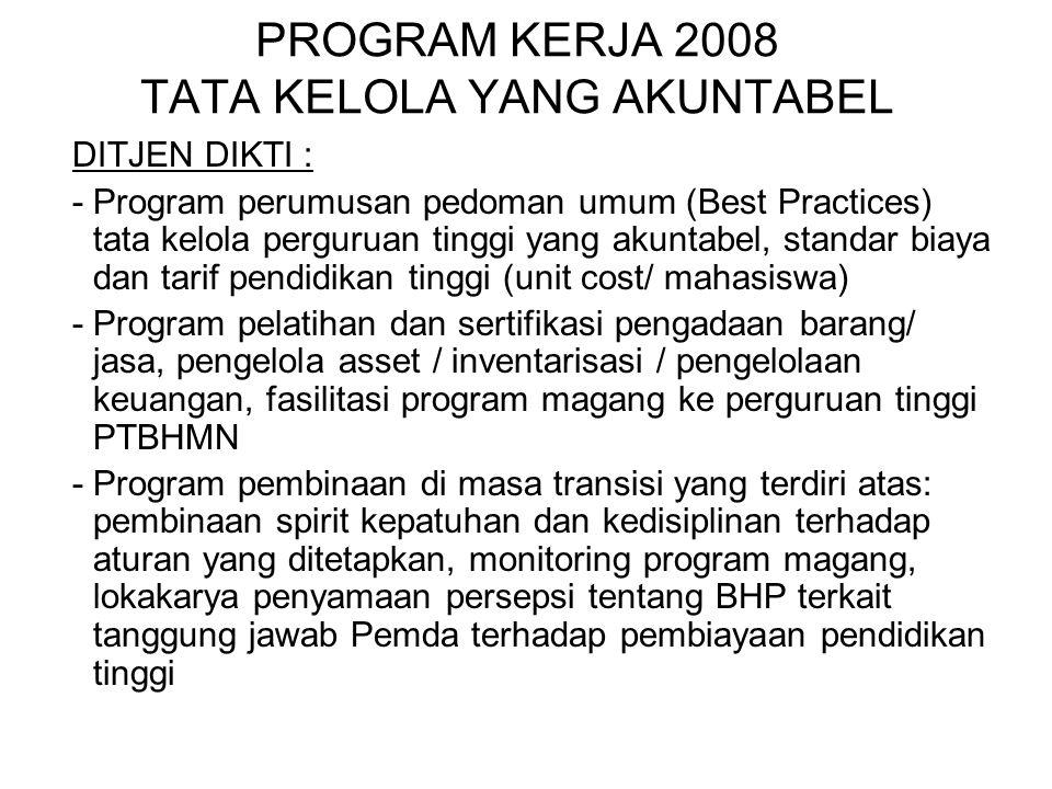 PROGRAM KERJA 2008 TATA KELOLA YANG AKUNTABEL