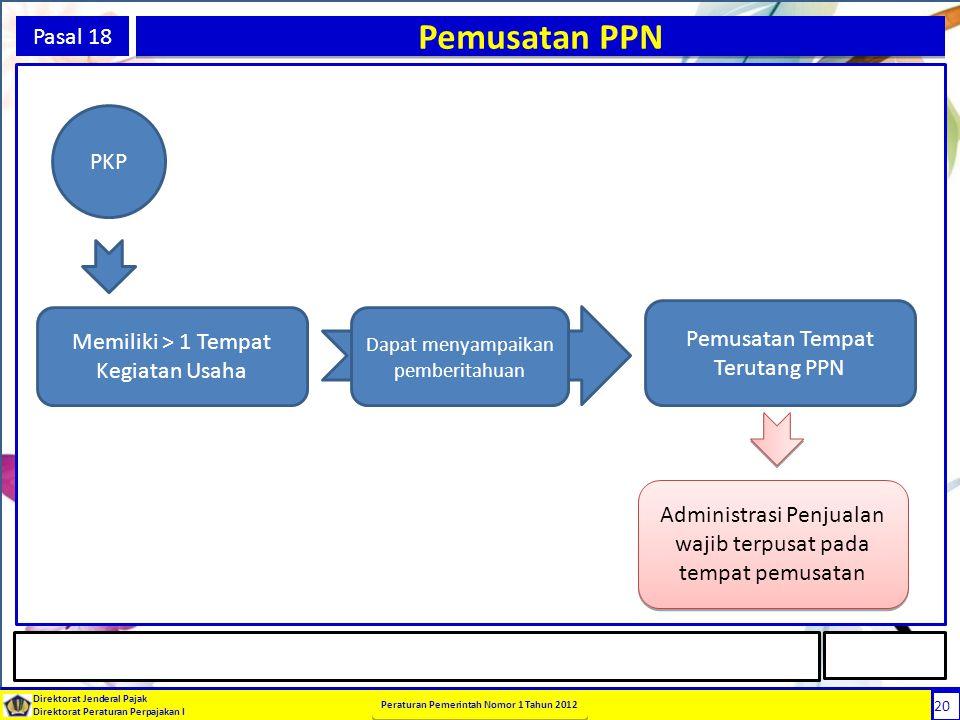 Pemusatan PPN Pasal 18 PKP Pemusatan Tempat Terutang PPN