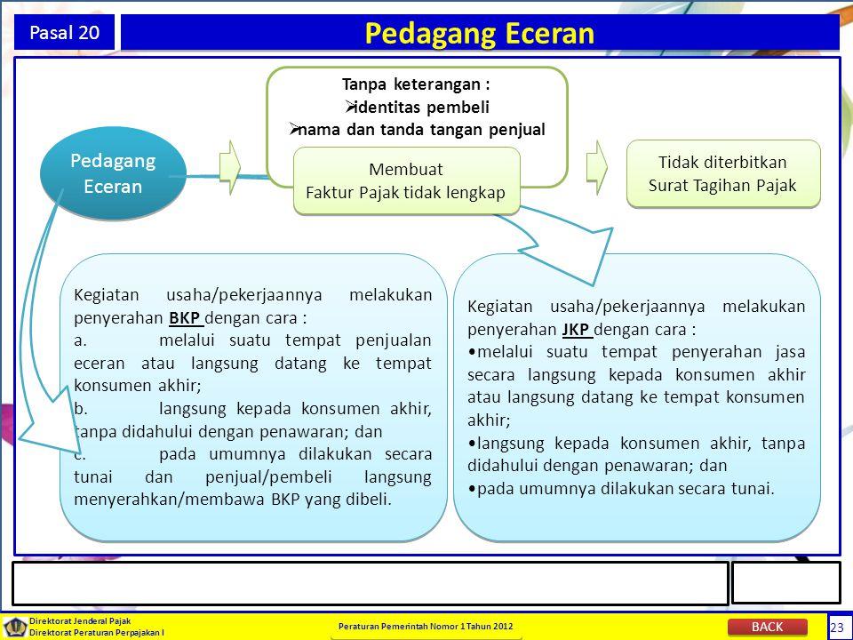 Pedagang Eceran Pasal 20 Pedagang Eceran Tanpa keterangan :