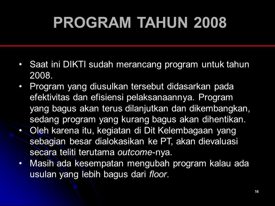 PROGRAM TAHUN 2008 Saat ini DIKTI sudah merancang program untuk tahun 2008.