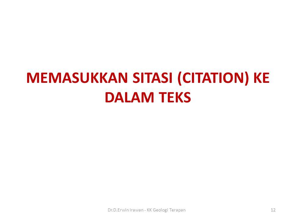 MEMASUKKAN SITASI (CITATION) KE DALAM TEKS
