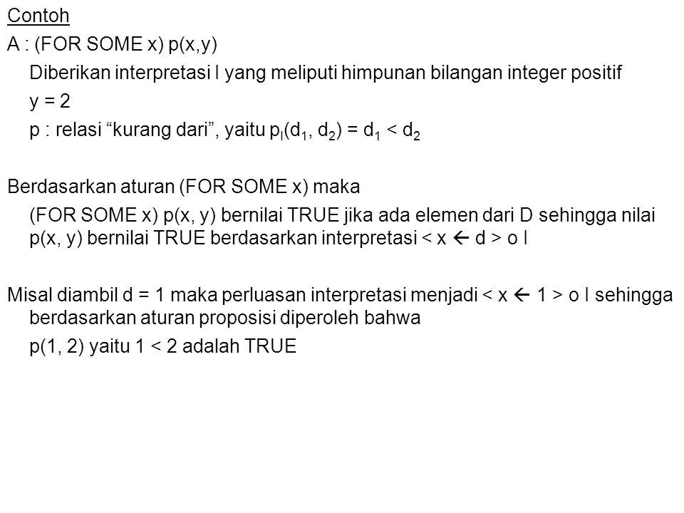 Contoh A : (FOR SOME x) p(x,y) Diberikan interpretasi I yang meliputi himpunan bilangan integer positif y = 2 p : relasi kurang dari , yaitu pI(d1, d2) = d1 < d2 Berdasarkan aturan (FOR SOME x) maka (FOR SOME x) p(x, y) bernilai TRUE jika ada elemen dari D sehingga nilai p(x, y) bernilai TRUE berdasarkan interpretasi < x  d > o I Misal diambil d = 1 maka perluasan interpretasi menjadi < x  1 > o I sehingga berdasarkan aturan proposisi diperoleh bahwa p(1, 2) yaitu 1 < 2 adalah TRUE