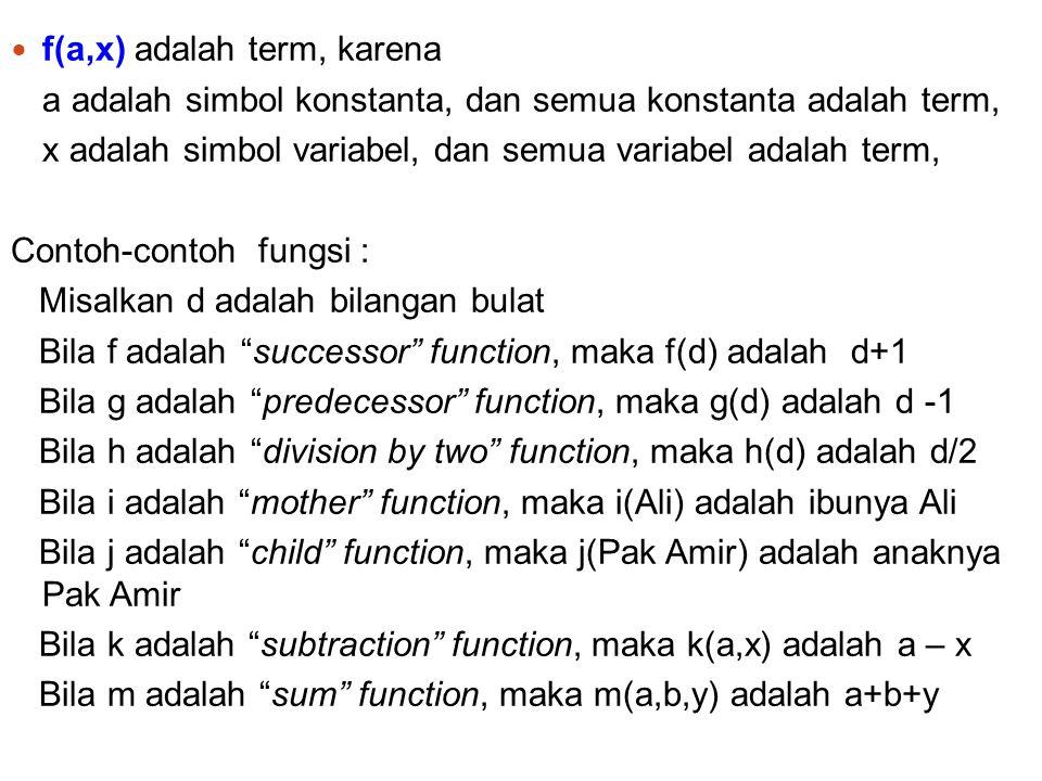 f(a,x) adalah term, karena