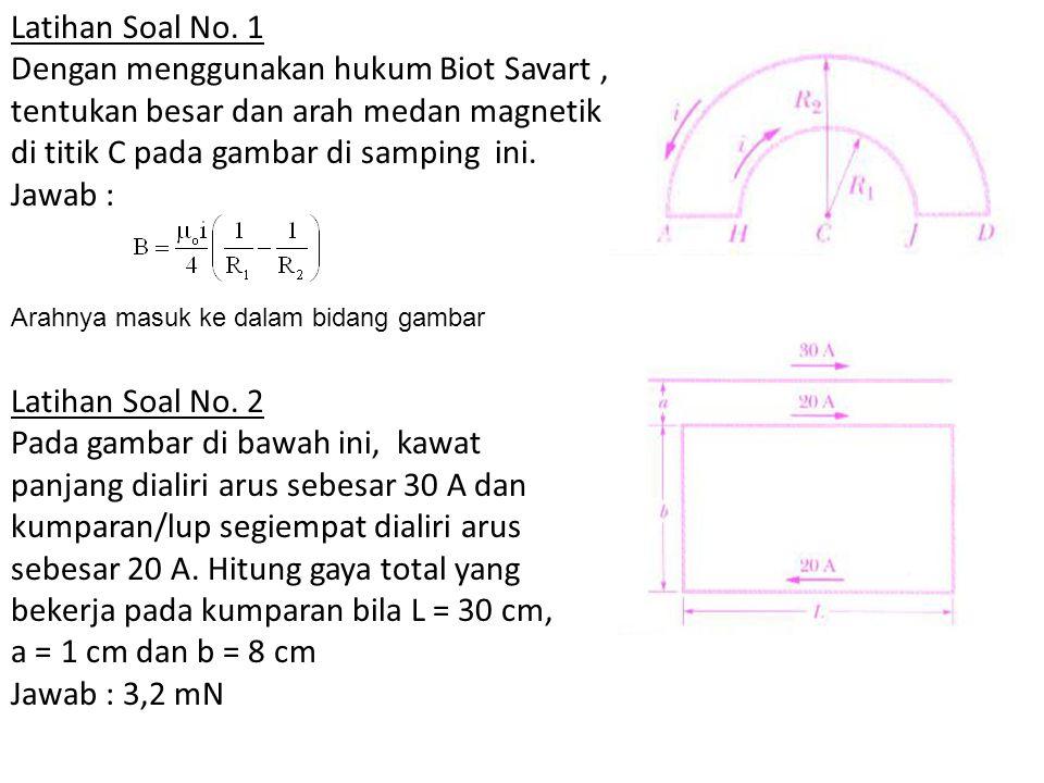 Latihan Soal No. 1 Dengan menggunakan hukum Biot Savart , tentukan besar dan arah medan magnetik di titik C pada gambar di samping ini.