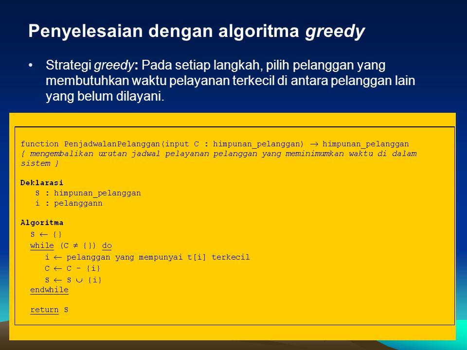 Penyelesaian dengan algoritma greedy